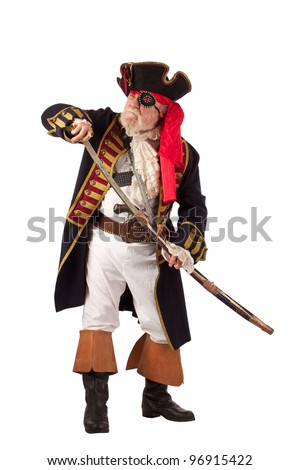 Classic bearded pirate captain drawing sword in threatening pose. Vertical layout, isolated on white background with copy space. - stock photo