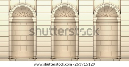 Classic Beige Empty Gallery In a Brick Wall - stock photo