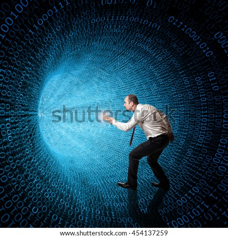 classic binary code 3d background and man with flashlight