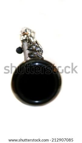 Classic Black B Clarinet on white background. - stock photo