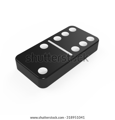 Classic black domino tile with white dots - stock photo