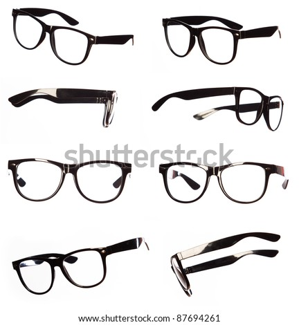 Classic black eyeglasses set - stock photo