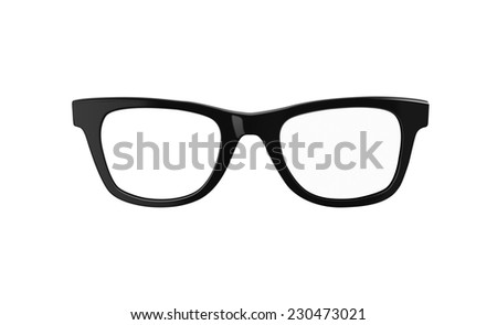 Classic black framed nerd or geek glasses. Both modern and retro in design. Isolated on white background with clipping path to easily place on someone's face. - stock photo