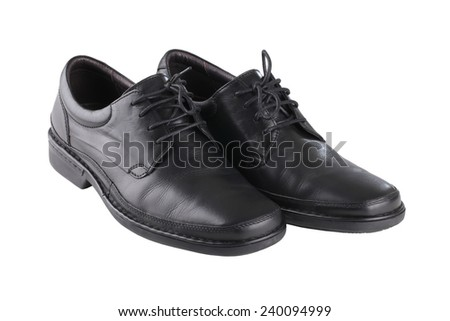 Classic black leather mens shoes with laces isolated on white background  - stock photo