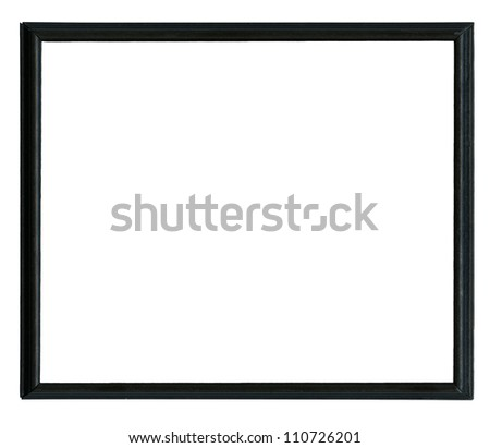 Classic black wooden frame isolated on white background - stock photo