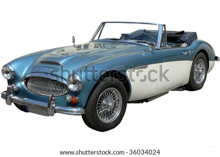 Classic Blue and White Sports Car Isolated on White background