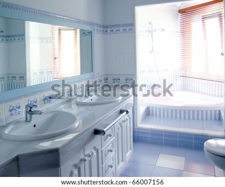 classic blue bathroom interior tiles decoration window light - stock photo