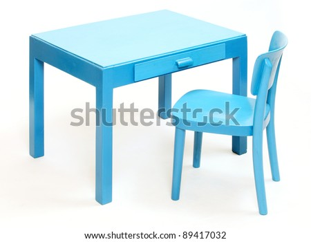 School Desk And Chair Clip Art Classic blue chair and table