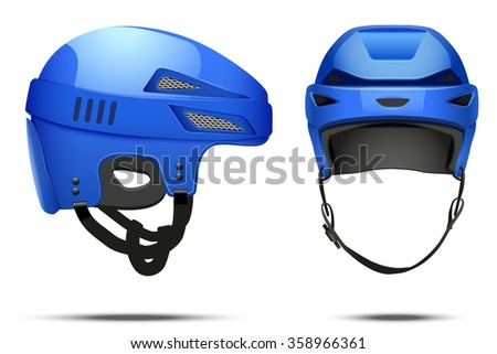 Classic blue Hockey Helmet. Front and side view. Sports  illustration isolated on white background.
