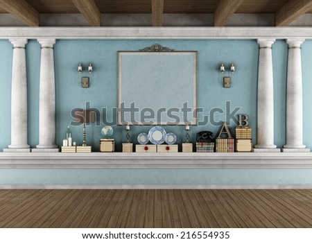 Classic blue room with shelf in masonry,columns and vintage objects- rendering - stock photo