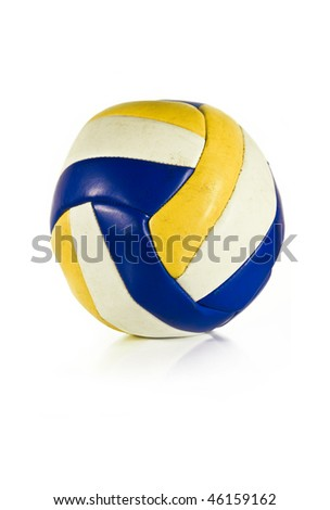 Classic blue-yellow-white volleyball isolated on white - stock photo