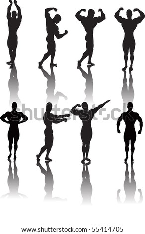 Classic bodybuilding poses - stock photo