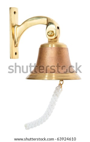 Classic Brass Door Bell With A White background