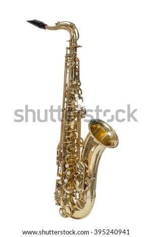classic brass musical instrument tenor saxophone isolated on white background - stock photo