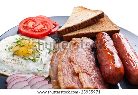 classic breakfast with fried egg, sausages, bacon and toast