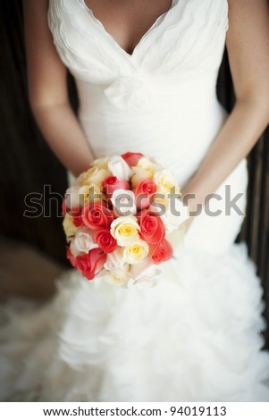 classic bride on her wedding day - stock photo