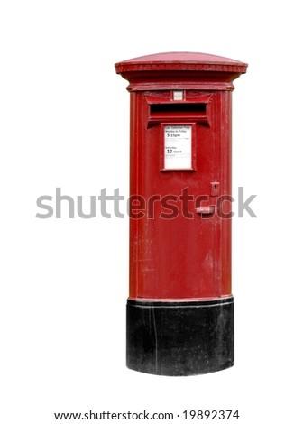 Classic British post / pillar box isolated on white - stock photo