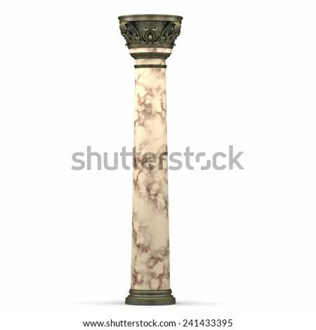 Classic Bronze and Marble Corinthian Column  - stock photo