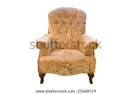 classic brown armchair over white background - stock photo