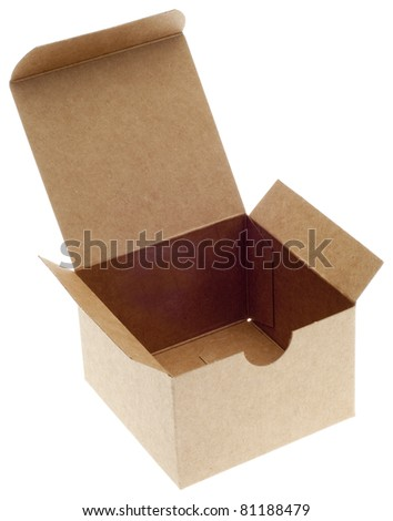 Classic Brown Box Open Isolated on White with a Clipping Path.