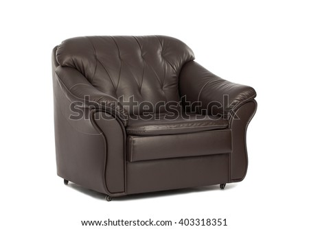 Classic Brown leather armchair isolated on white background with clipping path. - stock photo