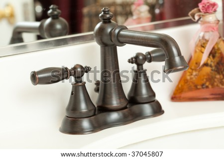 Classic Brown Water Faucet - stock photo