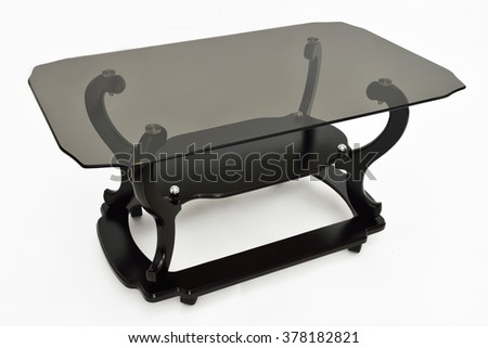 Classic brown wood coffee table with smokey glass for living, isolated on white background