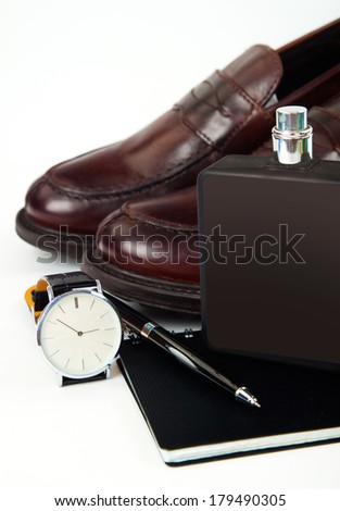 Classic business gentlemanly set (watch, shoes, perfume, pen, dairy)