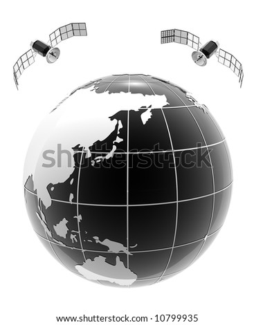 classic bw glob with 2 satellite in white background - stock photo