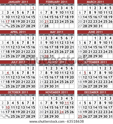 Classic 2011 calendar template (raster version) - stock photo