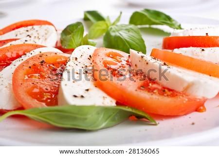 classic caprese salad - stock photo