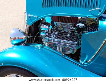 classic car and engine - stock photo