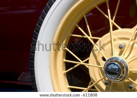 Classic Car Close-Up, spare wheel - stock photo