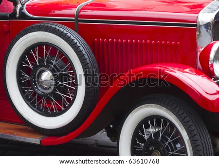 classic car close up with whitewall tyre