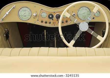 classic car dashboard - stock photo