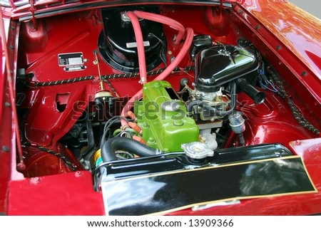 classic car engine at car show - stock photo