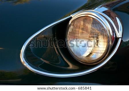 classic car headlight - stock photo