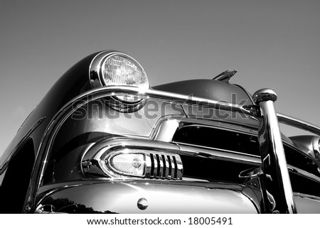 Classic Car In Black And White - stock photo