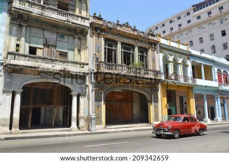 classic car in central Havana street in Cuba - stock photo