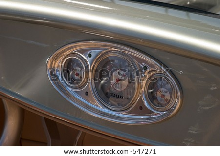 Classic Car Instrument Panel - stock photo