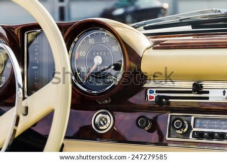 Classic Car interior - stock photo