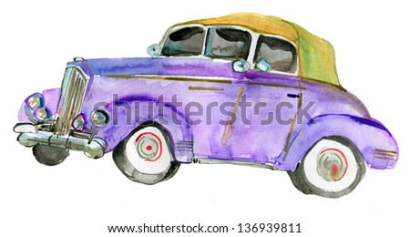 classic car isolated on white background. watercolor - stock photo