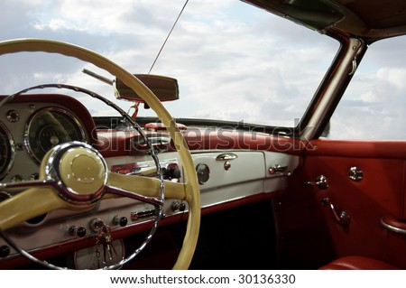 Classic Car Red and White Dashboard (Windows Path Included) - stock photo