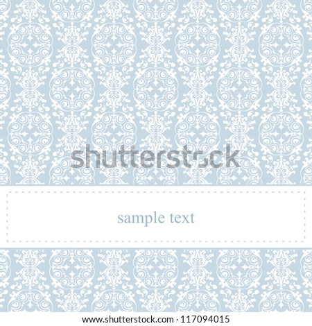 Classic card or invitation for winter party, birthday, christmas or wedding with white space to put your own text message. Elegant sweet baby blue background and white ornament lace. - stock photo