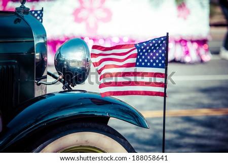 Classic cars parade. - stock photo