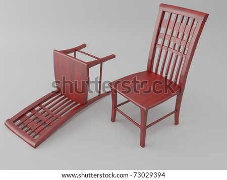 Classic chair 3D isolated on grey background - stock photo
