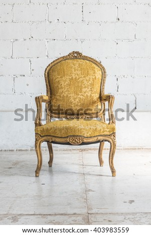 classic chair style in vintage room with white wall - stock photo