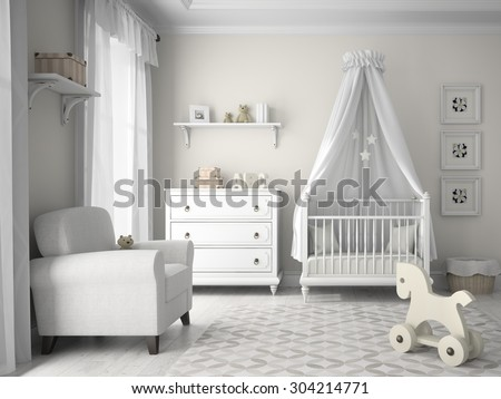 Classic children room in white color 3D rendering  - stock photo