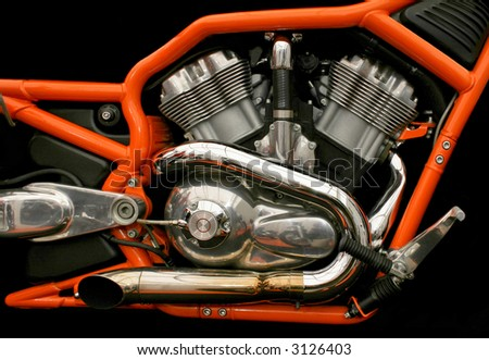Classic chromed chopper twin engine with exhaust - stock photo