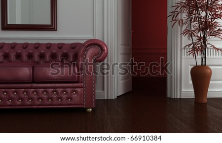 Classic clean interior with burgundy leather sofa. - stock photo